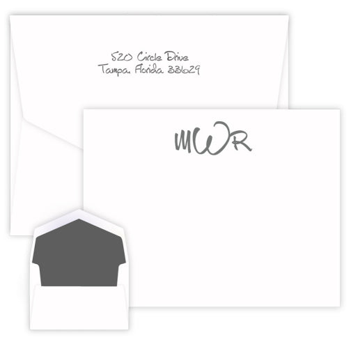 Wheaton Monogram Raised Ink Flat Apex Card