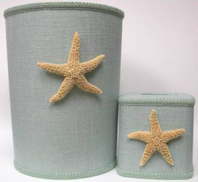 Blue Linen Starfish Waste Basket