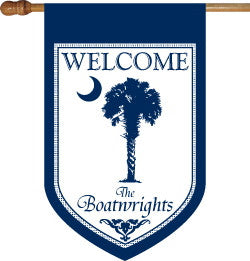 Monogrammed Blue Palmetto House Flag