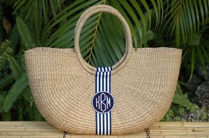 Monogrammed Extra Large Shoulder Straw Tote