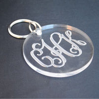 Monogrammed Round Key Ring (Engraved)