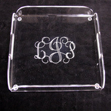 Monogrammed Acrylic Square Tray with Handles