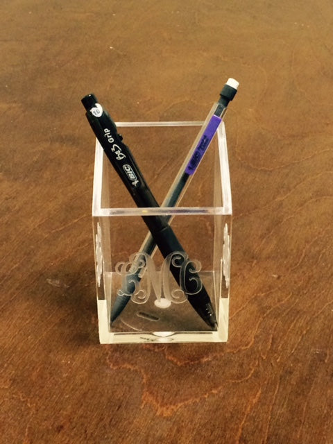 Monogrammed Acrylic Pen & Pencil Cup