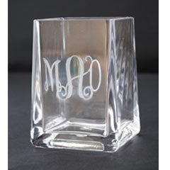 Monogrammed Square Toothbrush Holder