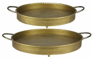 Gold Metal Tray with Handles