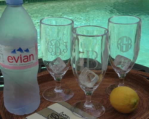Monogrammed Acrylic Footed Water Glass or Pilsners
