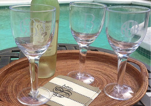 Monogrammed Acrylic All Purpose Wine Glasses