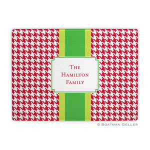 Alex Houndstooth Red Glass Cutting Board