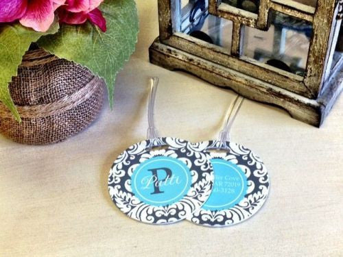 Custom Antique Pair of Round Luggage Tags