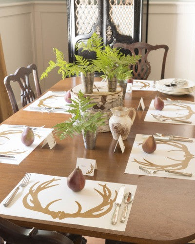 Sepia Antlers Paper Placemats