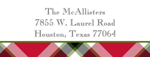 Ashley Plaid Red Address Label