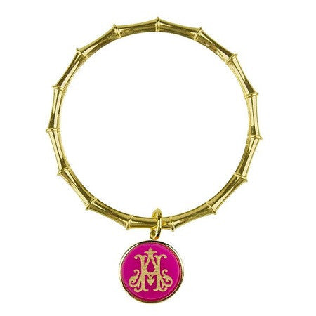 Monogrammed ML XX EM Interlocking Bamboo Charm Bangle