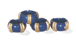Blue Bamboo Napkin Rings/Set of 4
