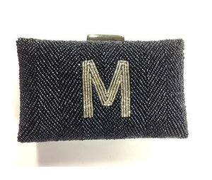 Monogrammed Beaded Box Clutch
