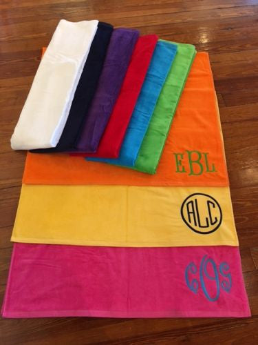 Monogrammed Velour Beach Towels