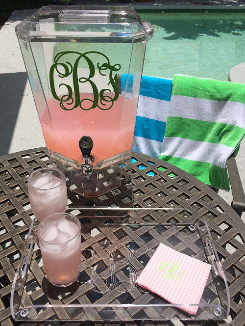 Monogrammed Acrylic Beverage Dispenser
