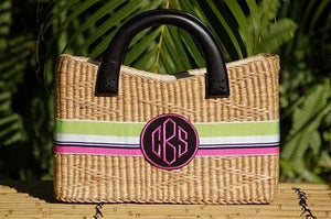 Monogrammed Medium Straw Purse