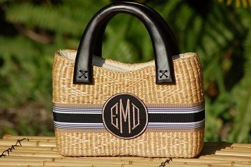 Monogrammed Party Size Straw Purse