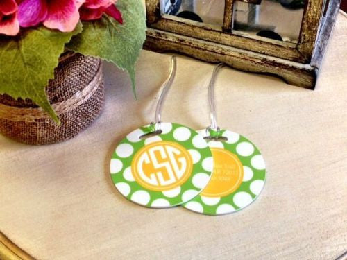 Custom Big Dots Pair of Round Luggage Tags
