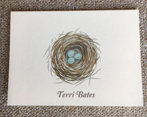 Personalized Bird's Nest Folded Notes