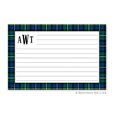 Black Watch Plaid Recipe Card