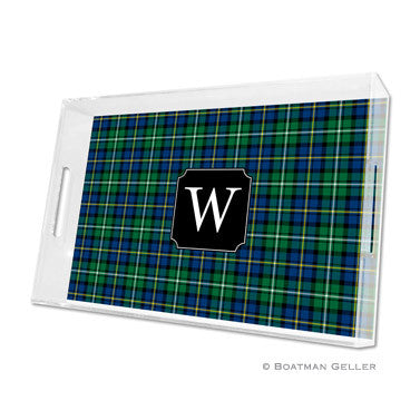 Black Watch Plaid Lucite Tray
