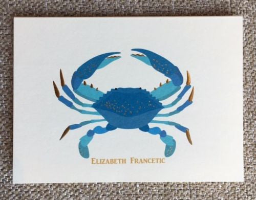 Personalized Blue Crab Folded Notes