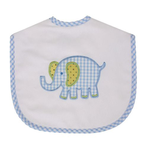 Blue Pastel Elephant Large Bib