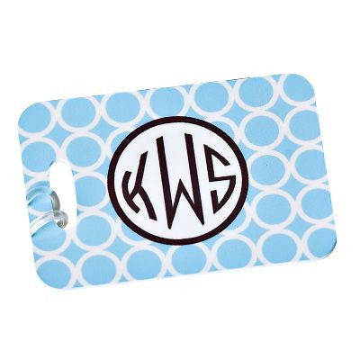 Monogrammed  Luggage Tag in Blue Hoopla