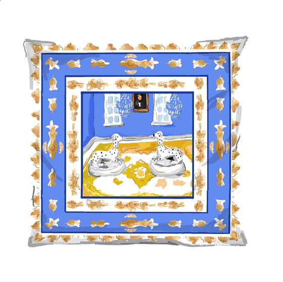 Blue Dog Square Pillow