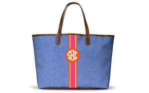Monogrammed St Anne Tote - French Blue Chambray