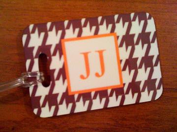 Monogrammed  Luggage Tag in Brown Houndstooth