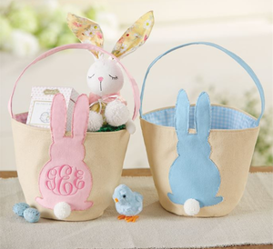 Bunny Applique Canvas Easter Basket