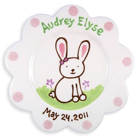Personalized Bunny Plate (Girl)
