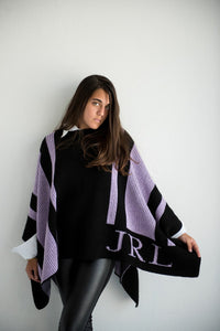 Monogrammed Striped Blanket Poncho