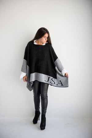 Monogrammed Single Border Blanket Poncho