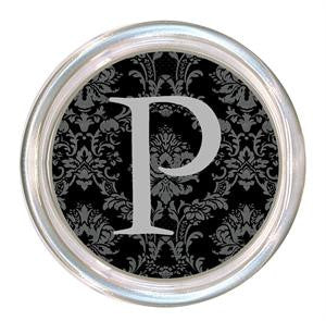 Monogrammed Black and Gray Damask Coaster