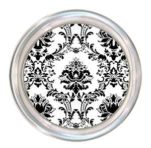Monogrammed Black and White Damask Coaster