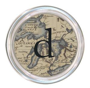 Monogrammed Great Lakes Map Coaster