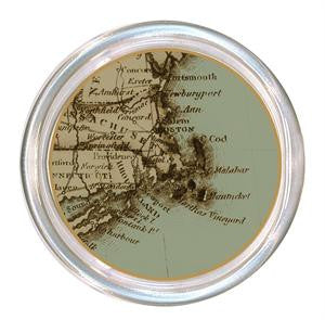 Monogrammed Antique Cape Cod Map Coaster