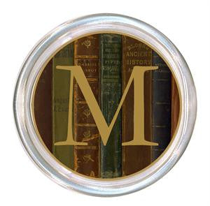 Monogrammed Antique Book Spines Coaster
