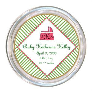 Pink and Green Daisy Baby Coaster