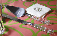 Monogrammed Crystal Handled Server Set
