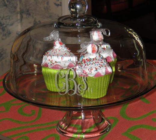 Monogrammed Glass Cake Pedestal Set