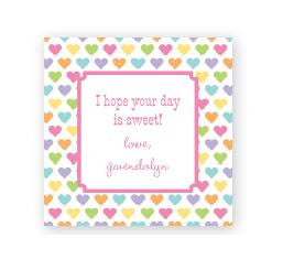 Candy Hearts Square Sticker