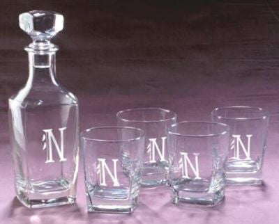 Monogrammed Capri Decanter and Glass Set