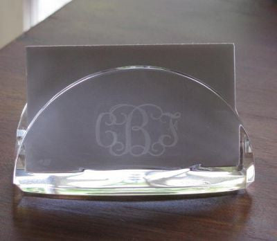 Monogrammed Acrylic Business Card Holder