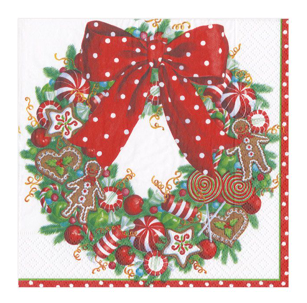 Candy Wreath Cocktail Napkin