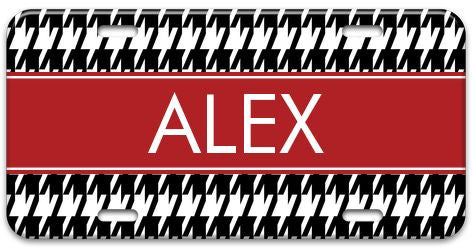 Personalized Houndstooth License Plate