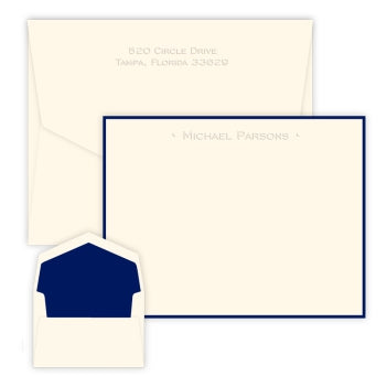 One-Line Embossed Flat Correspondence Card